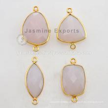 Conjunto de moldura de vidro Vermeil feito à mão Conectores de pedras preciosas de calcedônia rosa