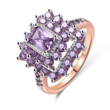 nova jóia 2018 925 anel de prata com pedra roxa para o casamento