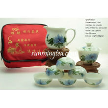 Ручная роспись хризантемы Цветочный Портативный Чайный Набор Путешествия