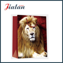 Coated Paper with Lion Printed Shopping Hand Gift Paper Bag