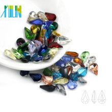 Le point de fantaisie de haute qualité a déjoué des pierres à facettes facettées par coupe de poire de ruban pour l'habillement C4300