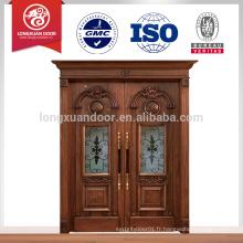 Conception en bois de porte d'entrée principale, Meilleur design de porte sculpté en bois pour entrée de villa et maison