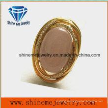 Joyería de moda de alta calidad anillo de acero inoxidable con piedra rosa
