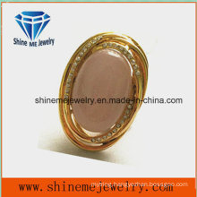 Fashion High Quality Jewelry Stainless Steel Ring with Pink Stone
