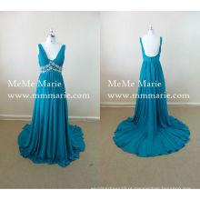 Um vestido de festa de linha Sexy V Neck Bare Back Evening Dress with Rhinestones BYE-14025