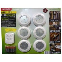 Lightmates LED Wireless Puck Lichter mit Fernbedienung und Batterien - 6 Pack