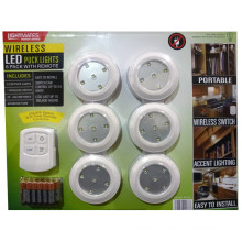 Lightmates LED Wireless Puck Lights with Remote & Batteries - 6 Pack