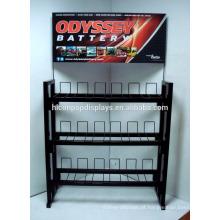 Metal Automotive Accessories Loja de varejo Independente 3-Tier 12 Volt Motorcycle Battery Display Rack