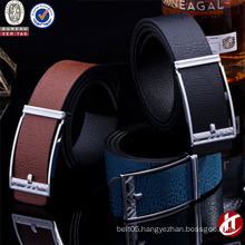 Men Slide Plate Buckle Cow Genuine Leather Women Embossed Unisex Belts