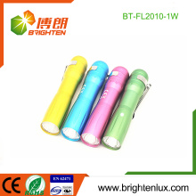 Factory Bulk Colorful Promotionnel Aluminium Cheap Small 1w mini led Flashlight Torch for Children