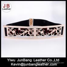 Cinto elástico de cintura de metal para senhoras de moda com fivela grande