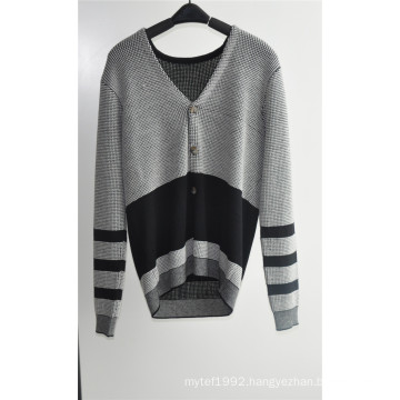 V Neck Patterned Knitted Men Cardigan with Button