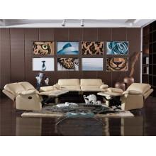 Sofá de salón con sofá moderno de cuero genuino (743)