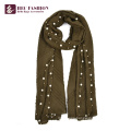 HEC New Fashion Logo Print Polyester Plaid Silk Winter Scarf For Women