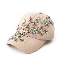 Ladies Denim Bling Flower Pattern Adjstable Baseball Cap