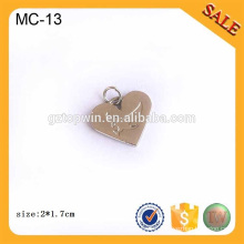 MC13 Custom metal logo charms,antique silver 3D logo jewelry metal logo tag
