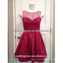 LS2013 Red sleeveless sheer organza top gathered satin knee length round neckline real sample evening dress