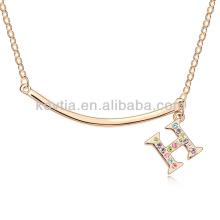 Letter H pendant necklace gold metal bar necklace letter engraved diamond necklace
