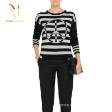 Camisola de caxemira listrada preto e branco das mulheres