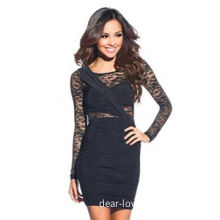 Black Lace Nude Bodycon Dress, Made of Polyester + Spandex, Available in Various SizesNew