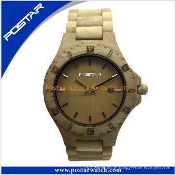Relógio de madeira natural de alta qualidade com mostrador redondo para mulheres