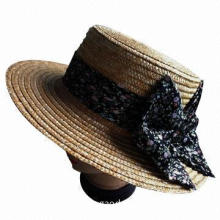 Wheat women's straw/boater hat with cloth bowknot, suitable for summer/beach/party