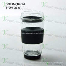 Boca-soprado vidro de parede dupla 300ml, resistente ao calor vidro de borosilicato de alta para beber, copo de café de grau alimentar