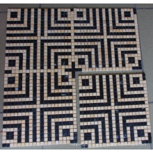 Black Mix Beige Marble Mosaic Tile (HSM138)