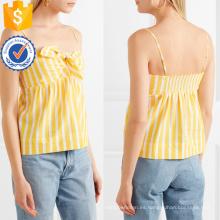 Correa de espagueti anudada amarillo y blanco de algodón a rayas de verano Top Fabricación venta al por mayor de las mujeres ropa de moda (TA0074T)