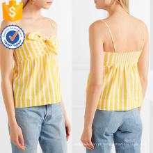 Spaghetti Strap Atado Amarelo E Branco Listrado Algodão Verão Top Fabricação Atacado Moda Feminina Vestuário (TA0074T)