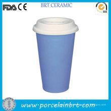 Tasse à double mur isolée bleu clair avec couvercle