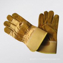 Gants d'hiver en cuir fendu entièrement en cuir de vache doré-3071