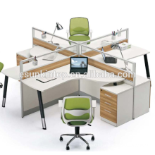 Heat modern cross working desk white and teak upholstery, Pro office furniture supplier (JO-7001)