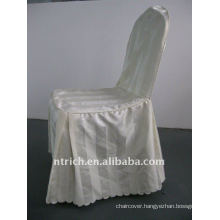 polyester chair cover with stripe,CT503 ivory/beige/cream color,banquet chair cover,250GSM best quality