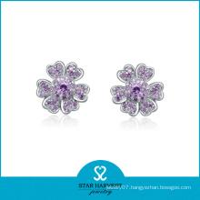 2014 Best Selling Silver Earrings with Purple