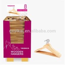 Promotional natural color flat wooden hanger