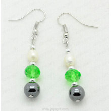Ball shaped hematite earring
