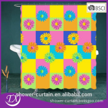 Polyester Fabric Colorful Sunflower Shower Curtain