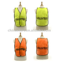 100%polyester High visibility volunteer reflective safety vest