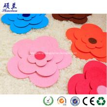 Decorated felt coaster flower shape