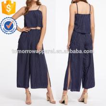 Top à rayures verticales avec pantalons à jambes larges Split Fabrication de vêtements en gros pour femmes (TA4024SS)