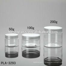 Pot de 50g, 100g, 200g, pot cosmétique, pot en plastique, avec le chapeau en plastique clair, acceptent l'OEM