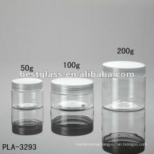 50g, 100g, 200g jar, cosmetic jar, plastic jar, with clear plastic cap, accept OEM