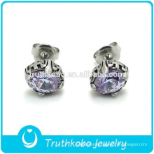 L-E0070 Religious Cross Silver Polish Shiny CZ Stone Claw Stainless Steel STUD Earring White Stone stud Earring