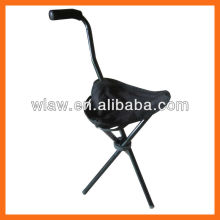 Walking stick foldable stool with 3 legs
