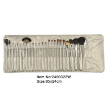 24pcs light golden plastic handle animal/nylon hair makeup brush set with light golden satin case