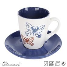 7oz tasse et soucoupe deux tons Glaze Shinny couleur Design