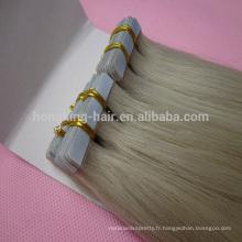 Vente chaude 100% cheveux humains brésiliens vierges, extension de cheveux de bande pour les femmes noires