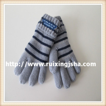 Kid's Fleece Lined Full Finger Stripe Gloves