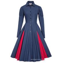Belle Poque Victorian Style Long Sleeve Shirt Collar Contrast Color Navy Swing Retro Vintage Dress BP000366-3